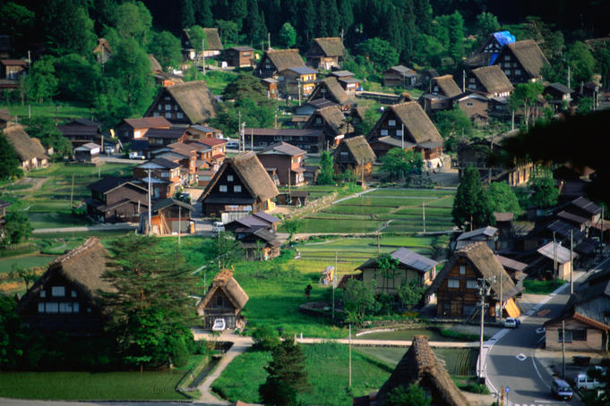 Thatched Gassho-Zukuri houses in Shirakawa-go Gassho-no-Sato Village, open-air museum.