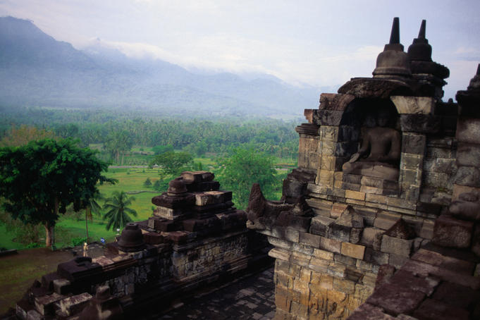 View of Indonesia's Kedu Plain from the upper terraces of Borobudur, a colossal pyramid, circa 750-850 AD.