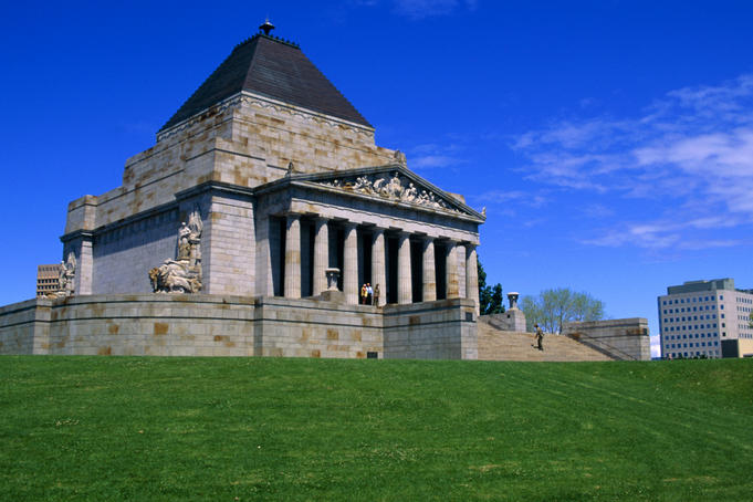Oblique view of the Shrine of Remembrance, Melbourne.