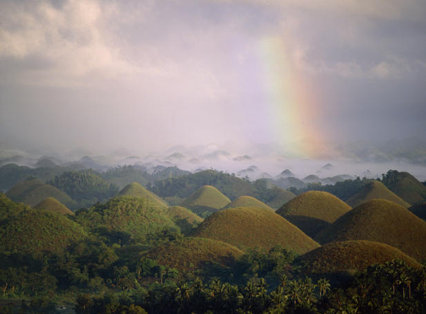 Rainbow over the Chocolate Hills.