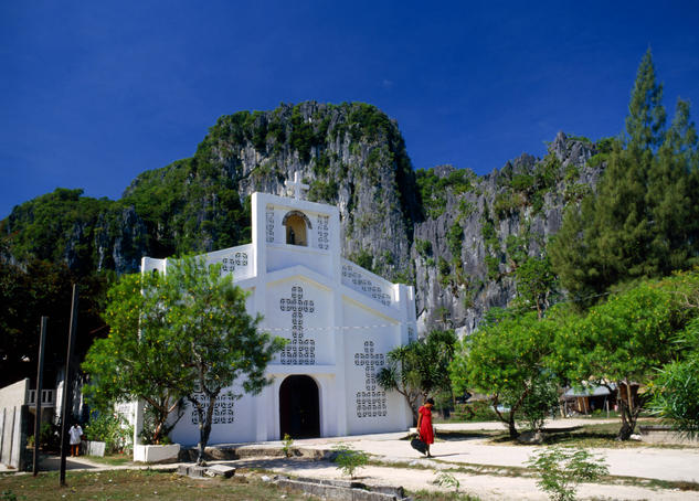 The St Francis of Assisi Church, hemmed in by the jagged cliffs that surround the town of El Nido- Palawan province, the Philippines