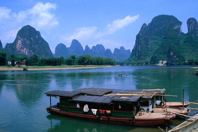 Wooden boats moored on the Li River at Xingping.