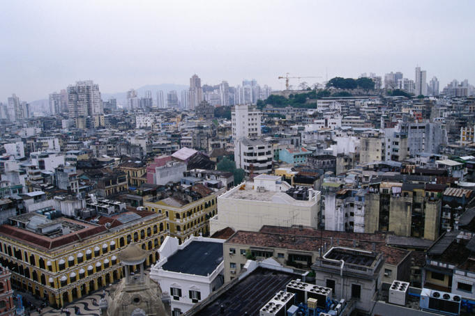 Central Macau, with the Largo do Senado at bottom left, beneath an overcast sky.