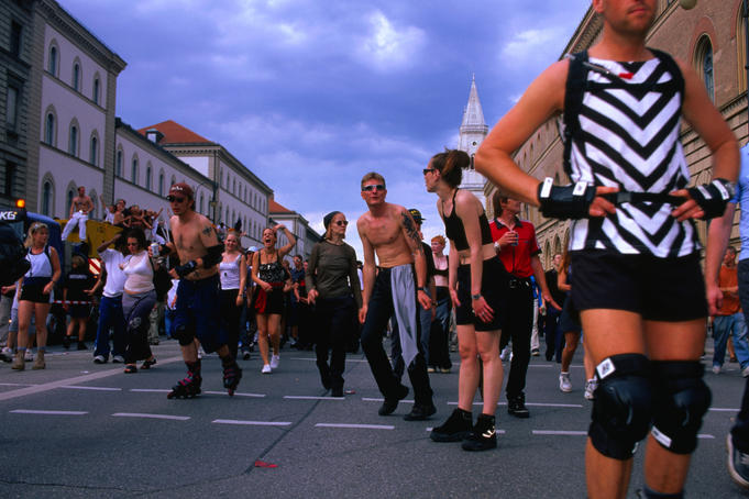 Dancers at the Munich Union move, 6th May, 1999.