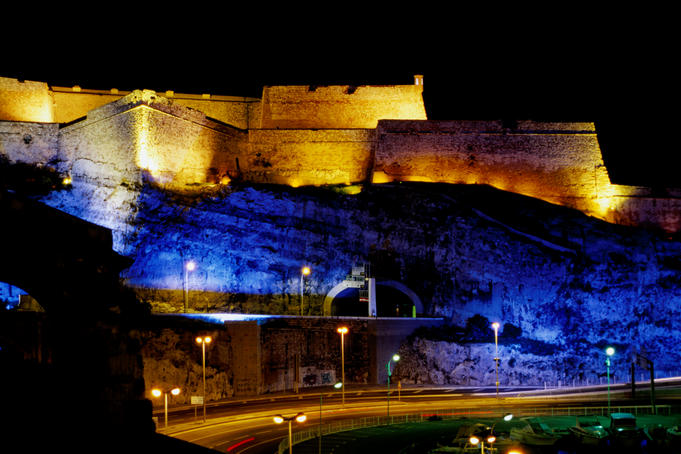 Fort Saint-Nicolas, lit up at night.