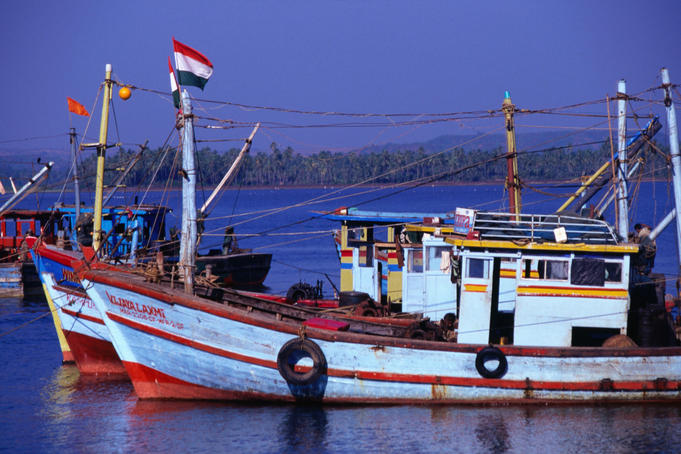 Fishing boats in Chopera, Goa.