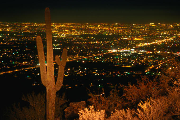 Night view of the lights of Phoenix from the South Mountain Preserve