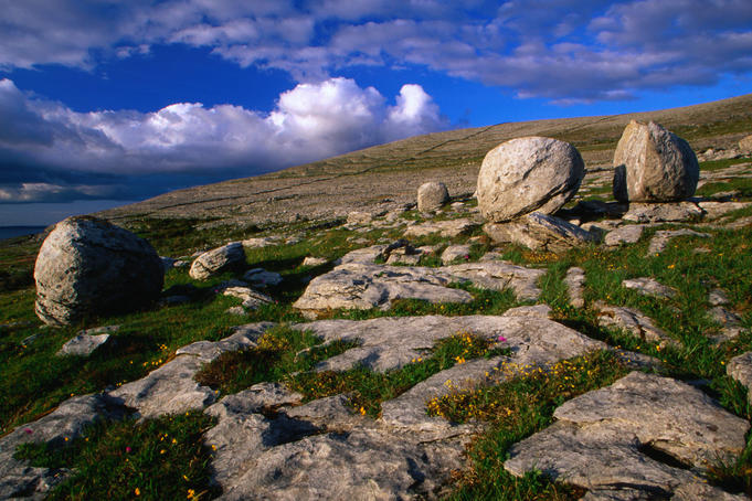 The Burren area in County Clare is the most extensive limestone region in Ireland or Britain