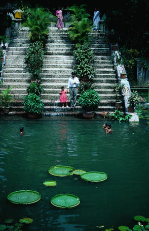 Children swimming in pond in Baldha Gardens, Wari.