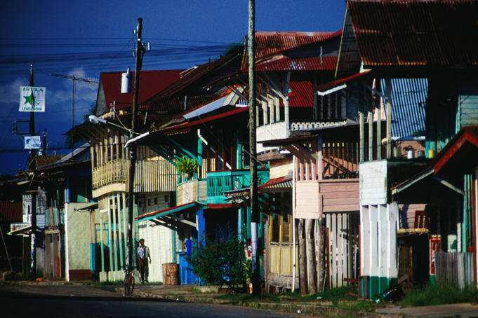 The main street of Bocas del Toro on Isla Colon