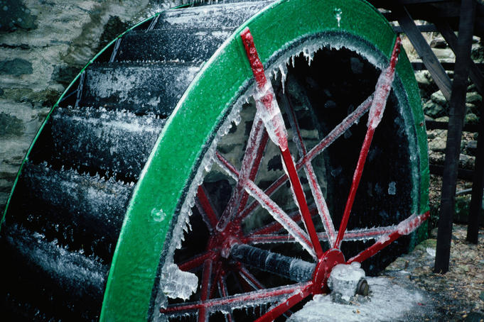 Frozen water-wheel by the Clova Hotel - Glen Clova.