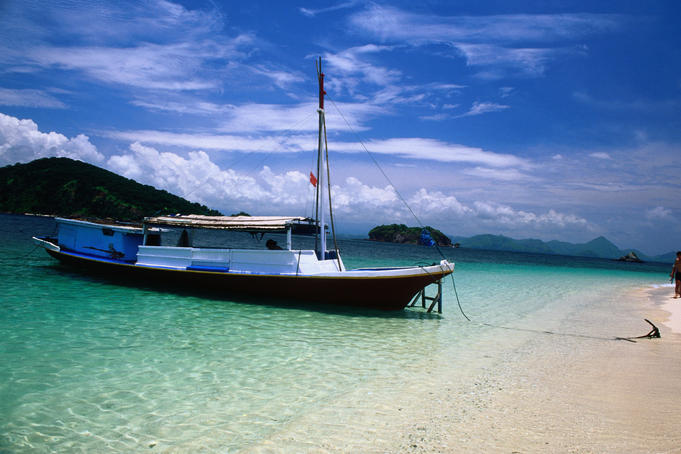 Charter ferry moored on one of the small islands off Labuanbajo.