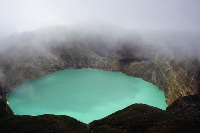 Keli Mutu's coloured 'milky turquoise crater' lake.