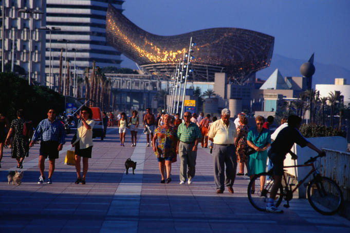Strolling the promenade of Port Olimpico, Barcelona