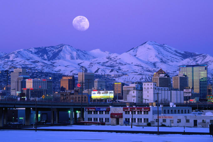 The moon over Wasatch Mountains and Salt Lake City