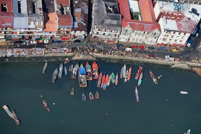 Looking down at the fishing boats and market of Panama City