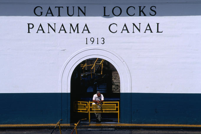 Historic Gatun Locks, each lock chamber holds about 2,675,200 cubic metres of water, equivalent to a one day supply for a city of approximately 100,00 people, Colon