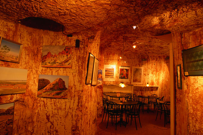 The Underground Restaurant in Coober Pedy. Most establishments are underground as temperatures above ground can reach over 50 degrees in summer