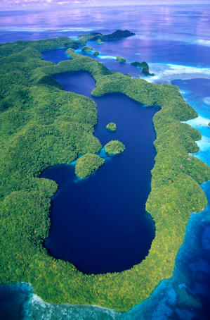 Aerial view of Long Lake, one of Palau's many marine lakes, on Mecherchar Island in the Rock Islands region