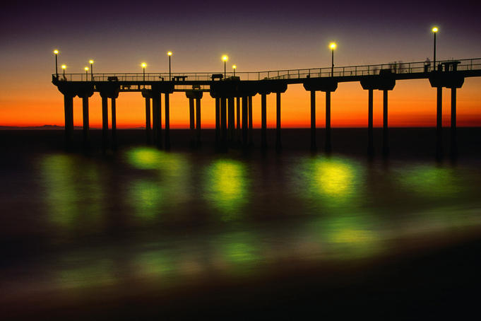 The Aliso Beach Pier in Laguna Beach, Orange County