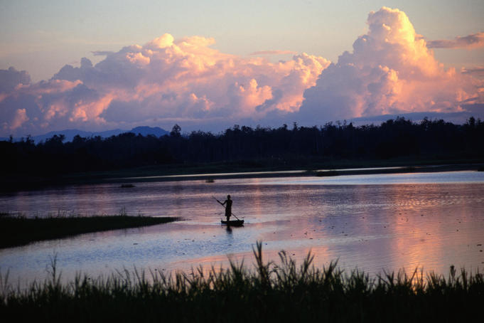 Sepik River, Maliwai, Upper Sepik, at sunset.