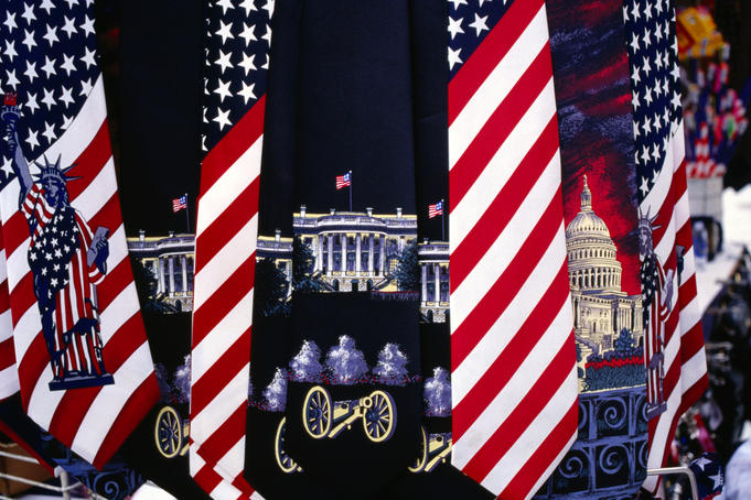 Patriotic ties at souvenir stall near White House.