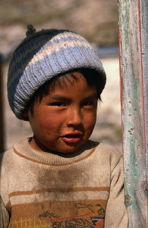 Young boy from the very small village of Parinacota.