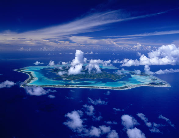 Aerial view of Bora Bora.