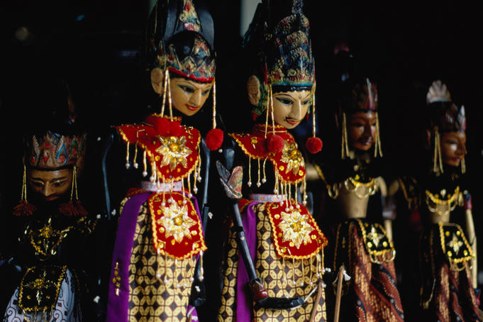 Wayang golek puppets for sale at Jalan Surabaya Antique Market.