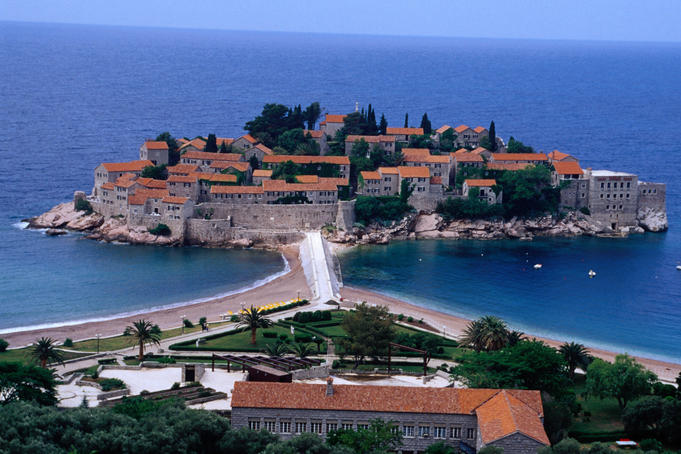 Sveti Stefan, once an island village now an expensive luxury hotel complex.