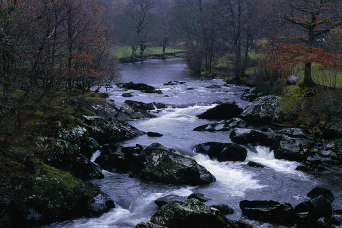 Gentle waterways near Capel Curig in the privately owned Snowdonia National Park, Wales