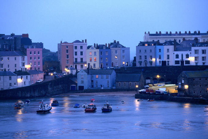 Evening lights on Tenby Harbour, Wales
