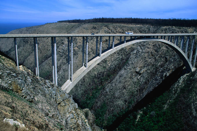 A bridge crossing over a canyon.