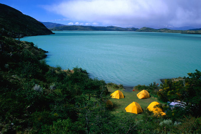 Camping on the shores of Lago Pehoe in the Torres del Paine National Park.