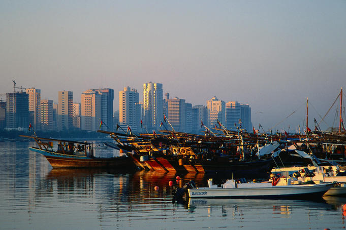 Fishing boats moored in the port, at dawn - Abu Dhabi
