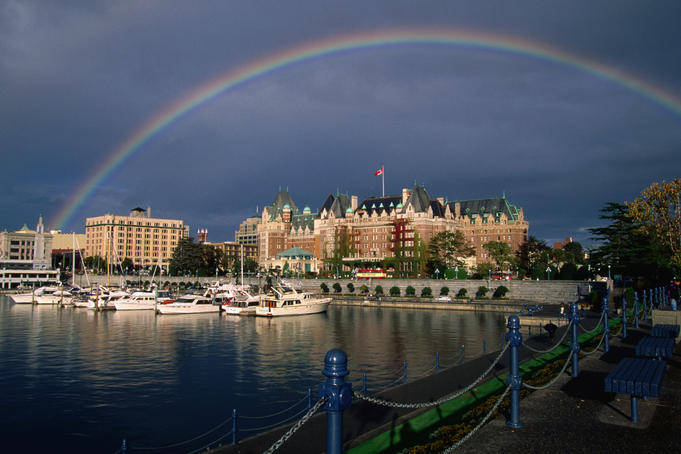 A rainbow colours the sky over the Empress Hotel in Victoria. The century old Empress Hotel is a tradition among honeymooners in the Northwest and serves an English High Tea that is not to be missed