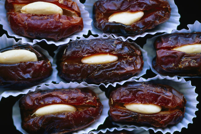 Dates stuffed with almonds.