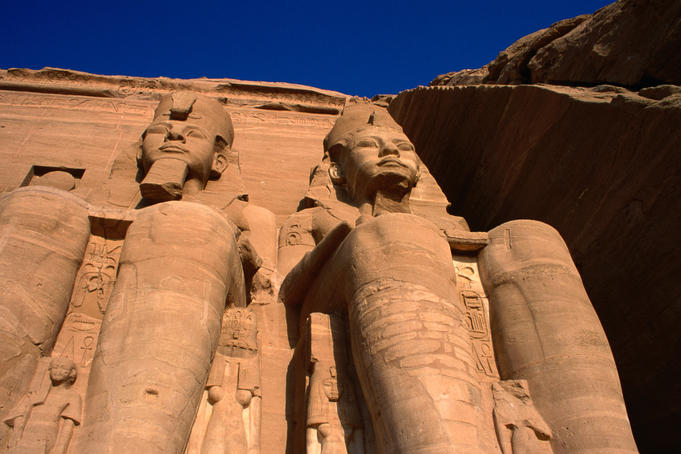 Giant statues at temple complex at Abu Simbel.