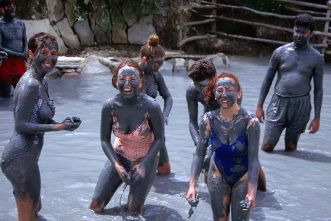 People in natural mudbaths.