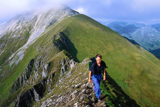 Walking along Devil's Ridge on the Ring of Steall Mamores in Lochaber.