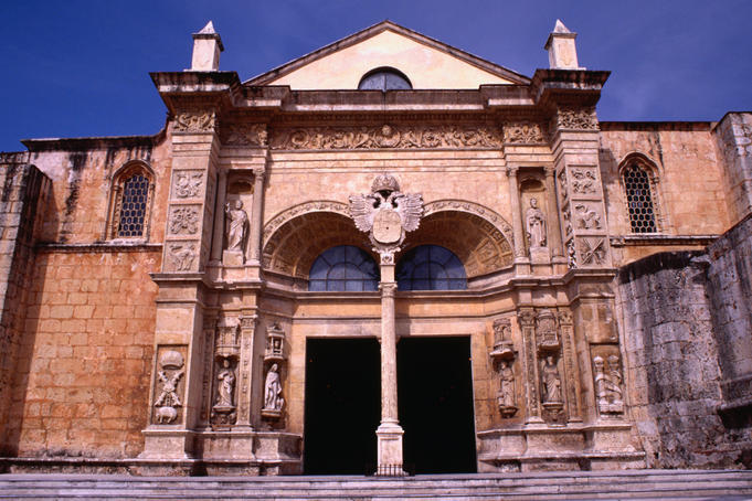 Facade and entrance to the Cathedral of Santa Maria la Menor, Santo Domingo. The cathedral was constructed in the early 1500s and is the oldest church in the West Indies.