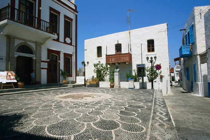 Buildings on the town square in Mandraki, capital of Nisyros Island, Dodecanese group of islands
