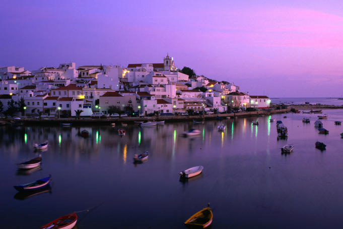 View across the harbour at dusk, Ferragudo.