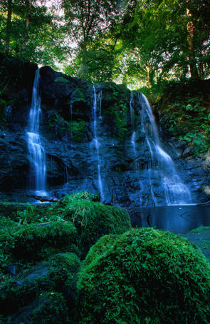 Ess-na--Larach Waterfall, the highlight of the 800 hectare Glenariff Forest Park, County Antrim - Northern Ireland