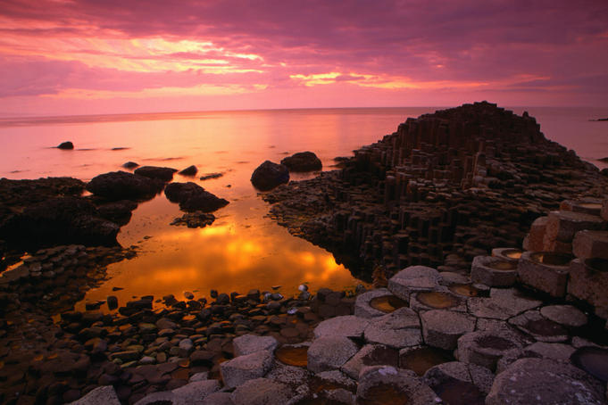 Giants Causeway formation, said to have been caused by an eruption of red-hot lava from an underground fissure some 60 million years ago, County Antrim - Northern Ireland
