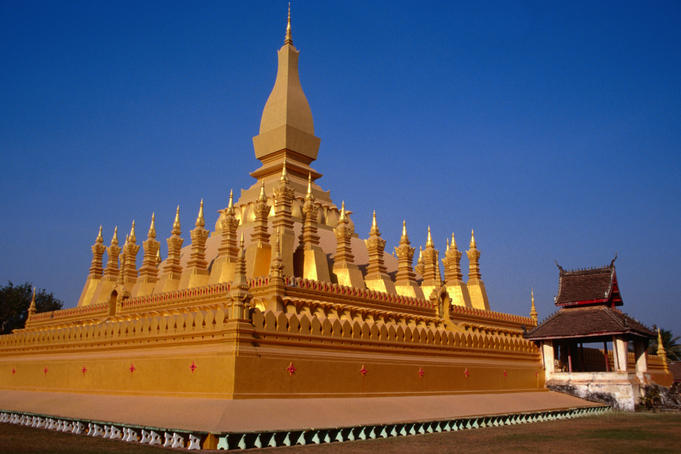The 16th century Pha That Luang (Great Sacred Stupa) is a symbol of both the Buddhist religion and Lao sovereignty, Vientiane
