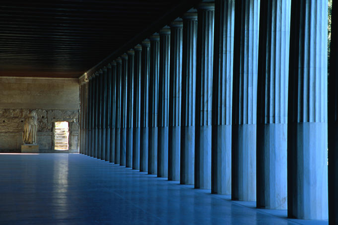 Oblique view inside the authentically restored Stoa of Attalos, which houses the Agora Museum on the site of the Ancient Agora, Athens.The original Stoa was built in 159-138 B.C., the reconstruction was completed between 1953-56.