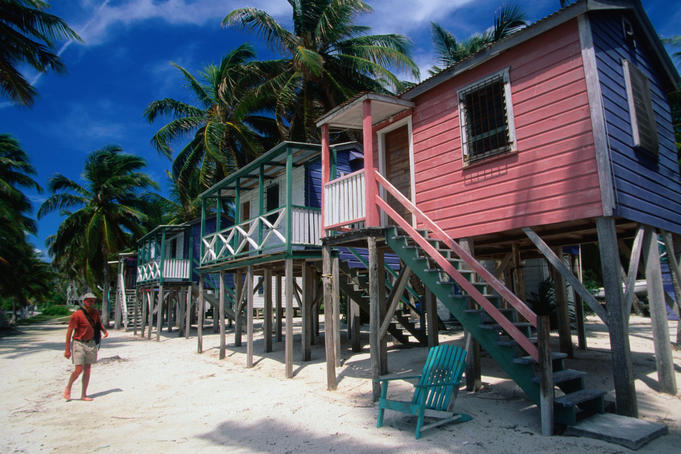 Colourful waterfront accomodation on the beaches of Caye Caulker.