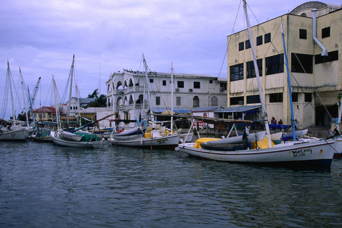 Boats along Haulover Creek in Belize City.