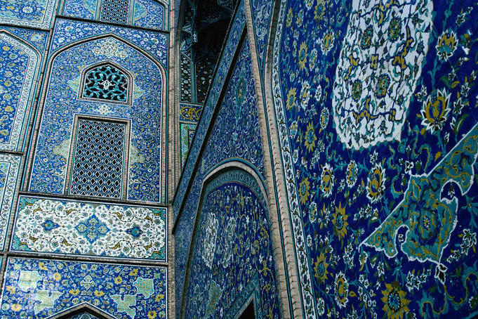 Closer detail of the 17th century tile work - Masjed-e Sheikh Lotfol